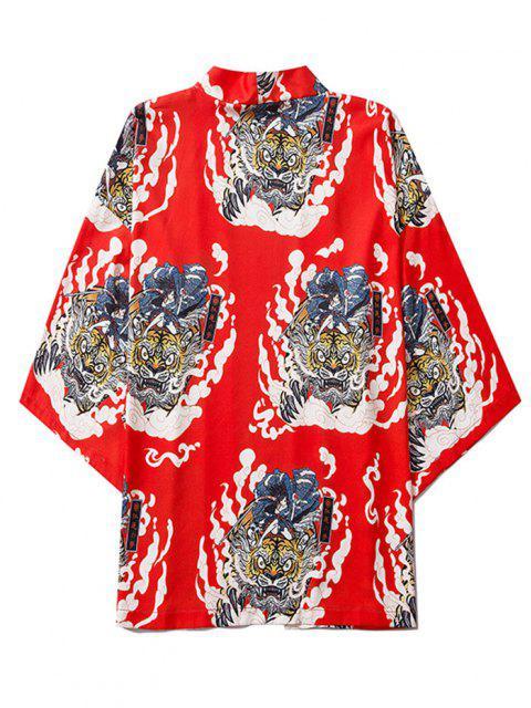 Geisha Samurai Tiger Print Open Front Kimono Cardigan - روبي الأحمر 2XL Mobile