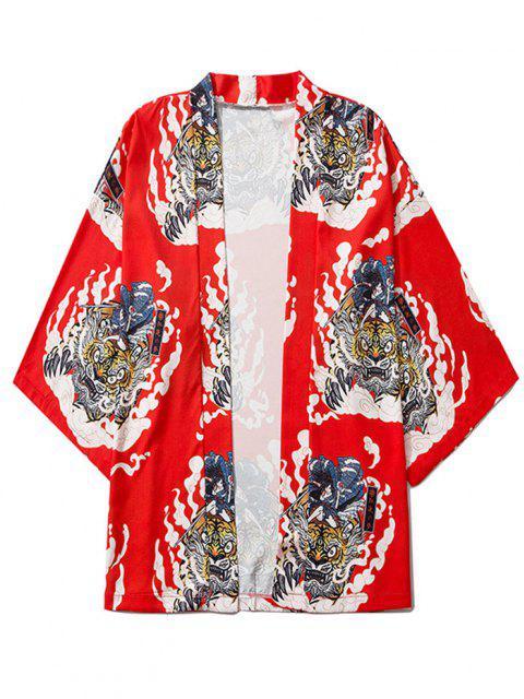 hot Geisha Samurai Tiger Print Open Front Kimono Cardigan - RUBY RED XL Mobile