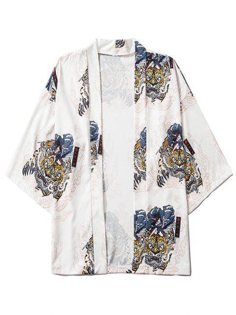 Cardigan Kimono Couvert Caractère D'Insecte Imprimé Ouvert en Avant - Blanc L Mobile