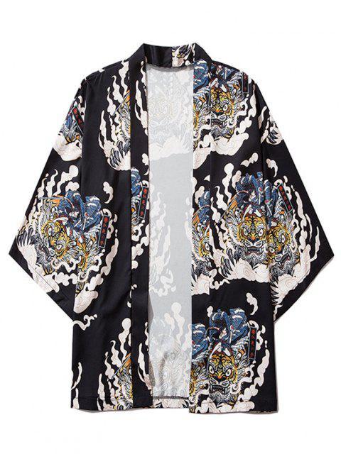 fancy Geisha Samurai Tiger Print Open Front Kimono Cardigan - BLACK L Mobile