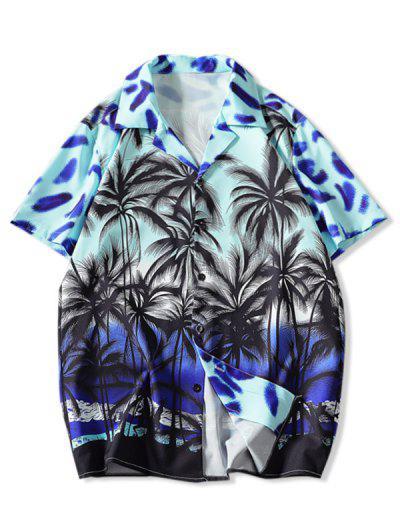 Coconut Tree Print Vacation Shirt - Multi-a 3xl