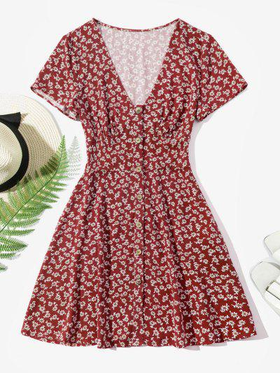 ZAFUL Ditsy Floral Button Up Mini Dress - Red Wine S