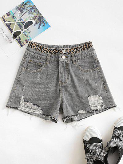 Distressed Frayed Hem Leopard Cutoff Shorts - Gray S