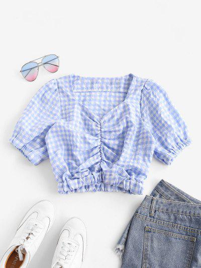Gathered Front Puff Sleeve Plaid Blouse - Light Blue M