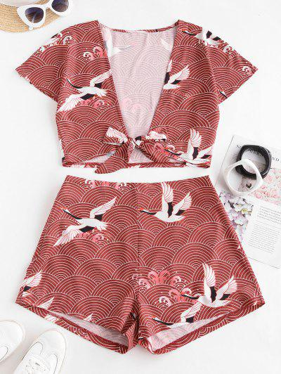 ZAFUL Tie Front Cropped Crane Printed Two Piece Set - Deep Red S