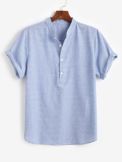Camisa Listrada De Meio Ziper Com Gola Para Cima - Azul M