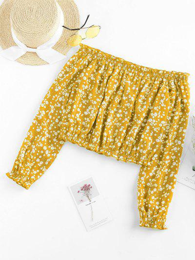 ZAFUL Ditsy Print Off The Shoulder Blouse - Yellow M
