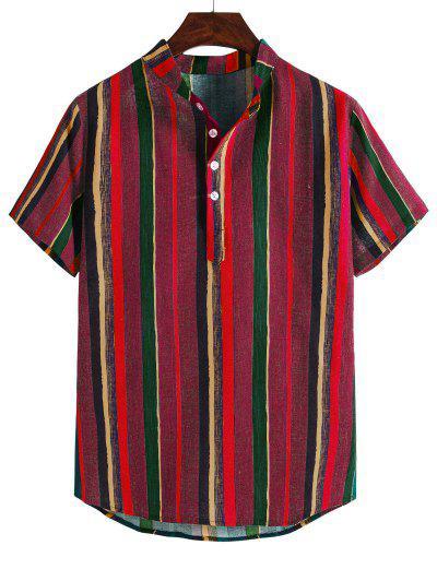 Camisa Casual A Rayas De Colores De Cuello Alto - Color Rojo Oscuro M