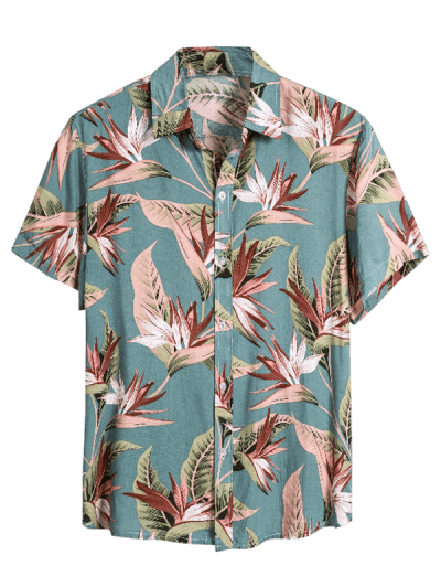 Flower Print Button Up Slim Hawaii Shirt