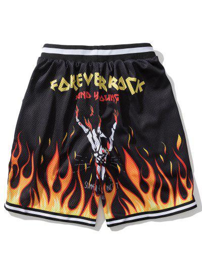 Flame Letter Print Elastic Waist Shorts - Black M