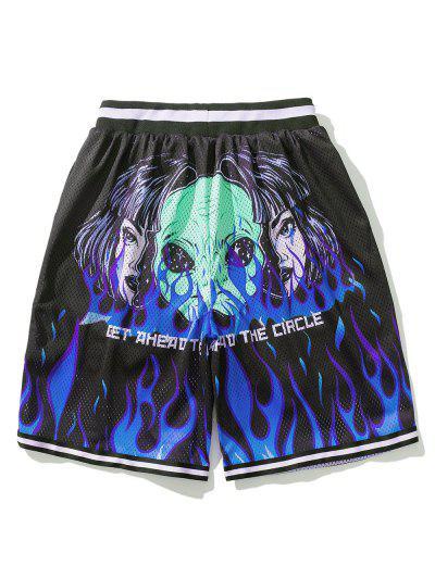 Flame ET Graphic Elastic Wasit Shorts - Black L