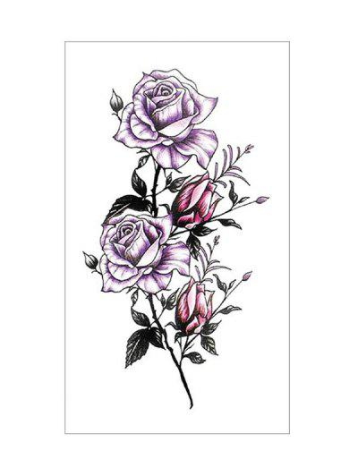 Rose Flower Leaf Geometric Tattoo Stickers - Multi-a Purple Rose