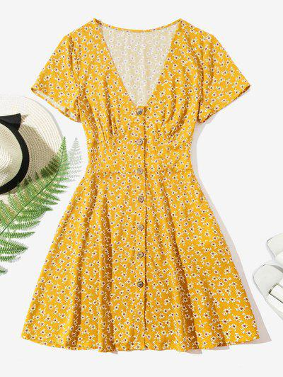 ZAFUL Ditsy Floral Button Up Mini Dress - Yellow Xl