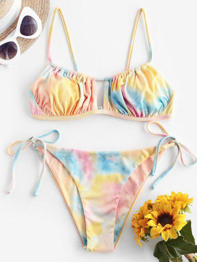 ZAFUL Ribbed Tie Dye Cutout String Bikini Swimwear - Light Orange L