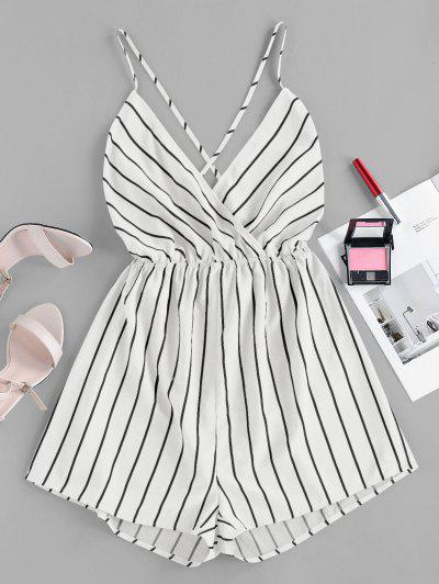 ZAFUL Striped Criss Cross Backless Loose Romper - White S