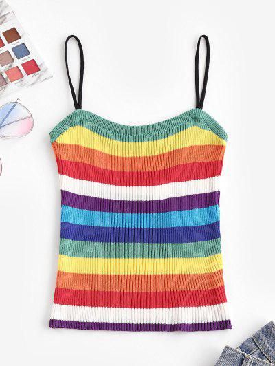 Knitted Rainbow Stripes Cami Top - Multi