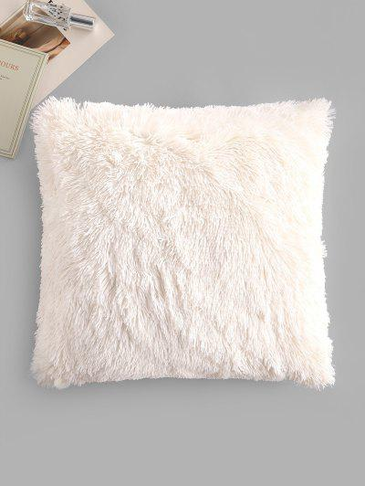 Square Plush Throw Pillowcase - White W18 X L18 Inch