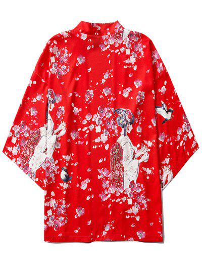 Sakura Geisha Print Open Front Kimono Cardigan - Ruby Red L