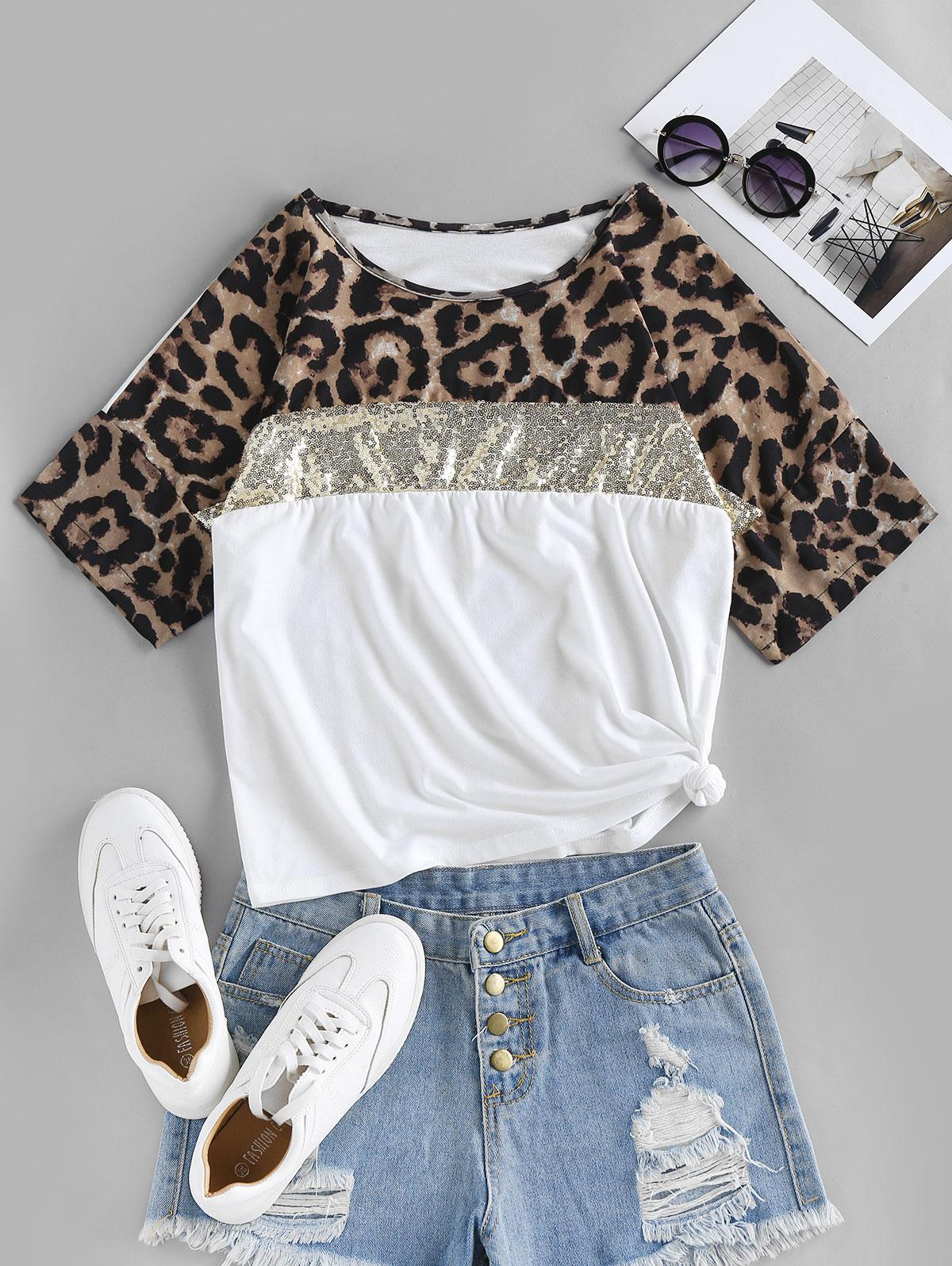Sequin Leopard Print T Shirt