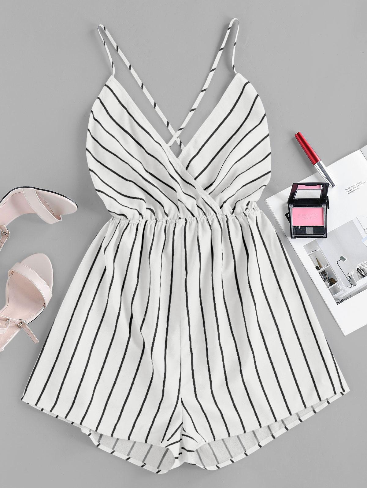 ZAFUL Striped Criss Cross Backless Loose Romper
