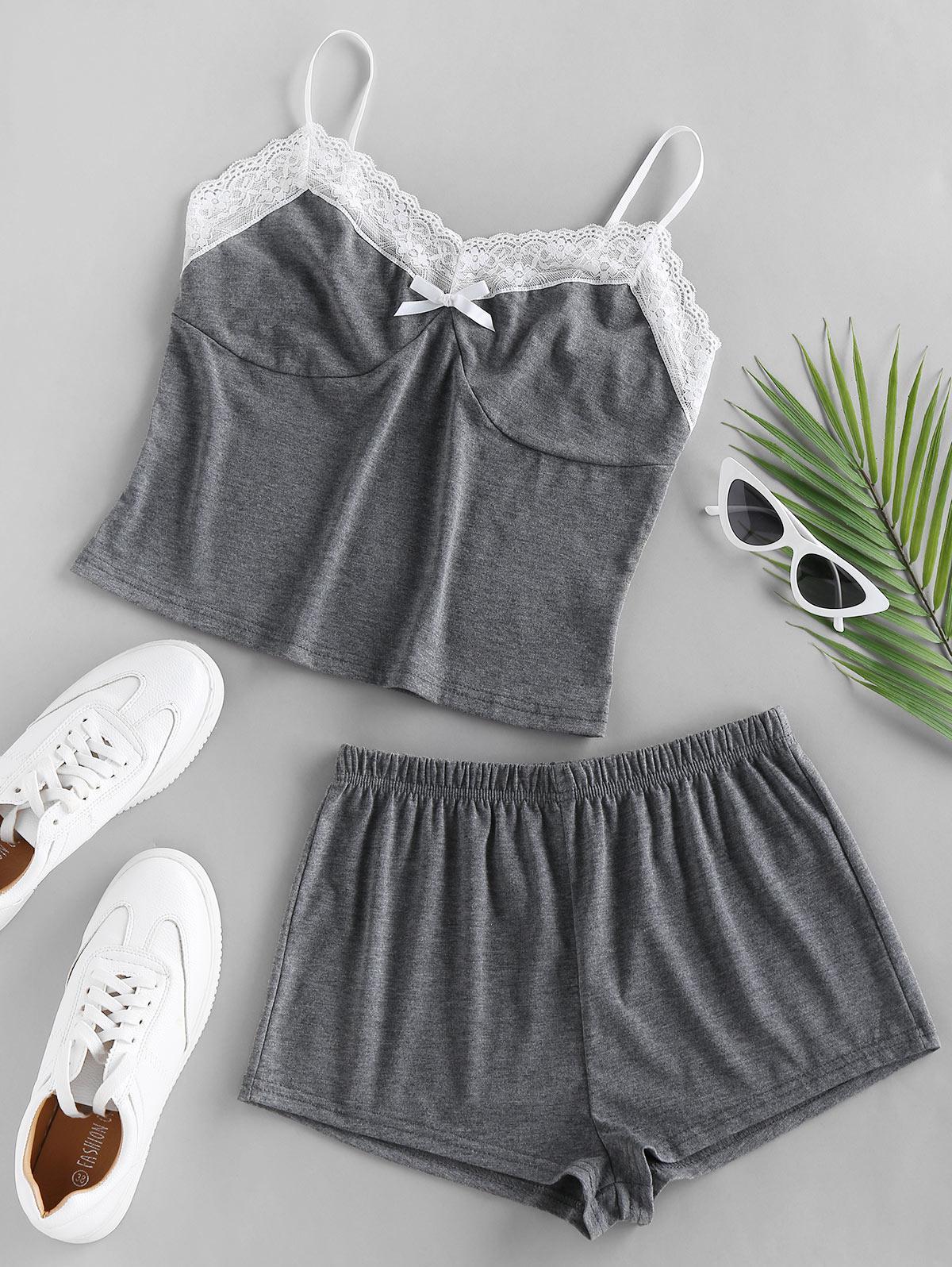 ZAFUL Lace Insert Colorblock Bowknot Pajama Shorts Set