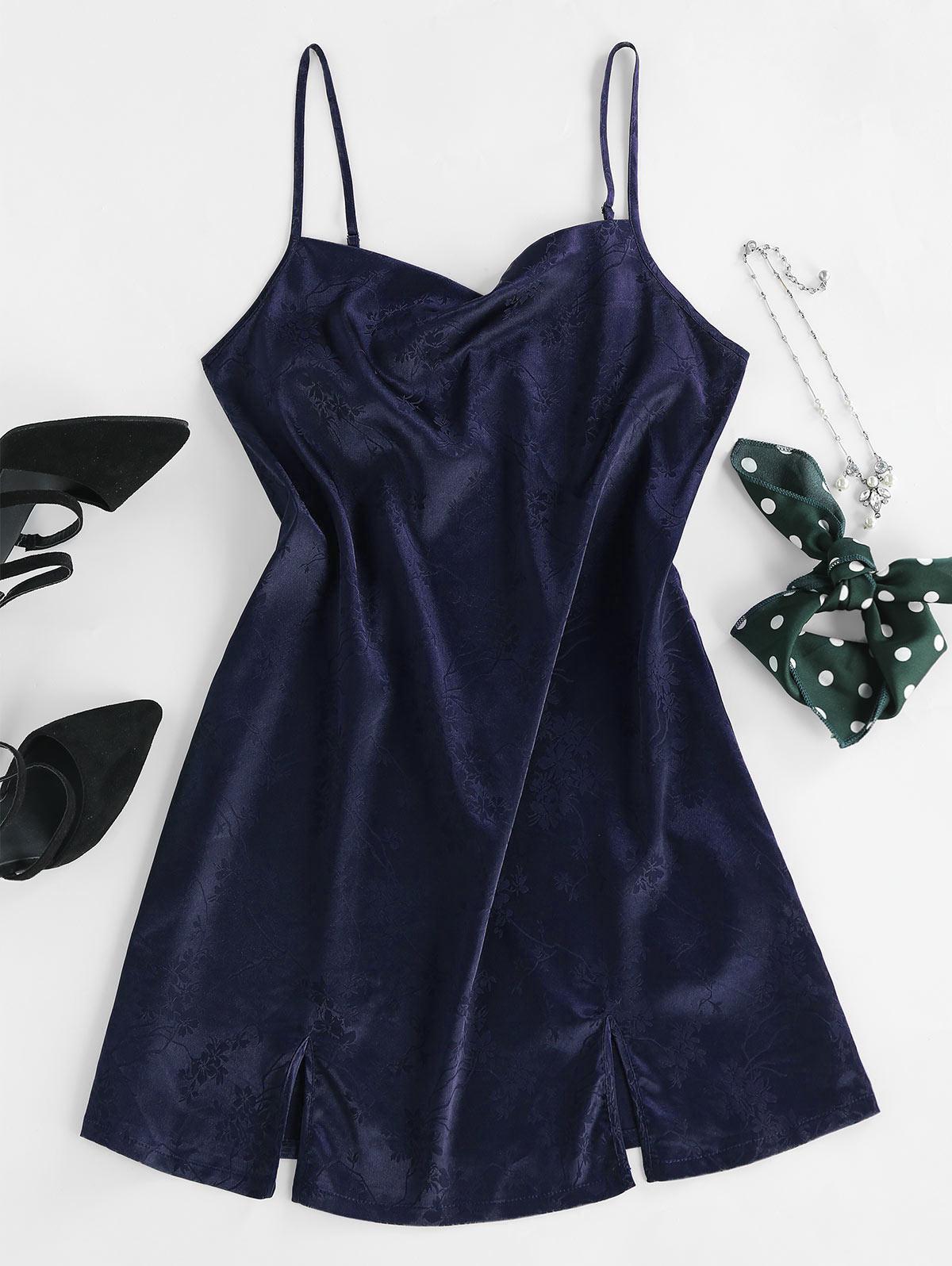 ZAFUL Jacquard Satin Cami Slit Mini Dress