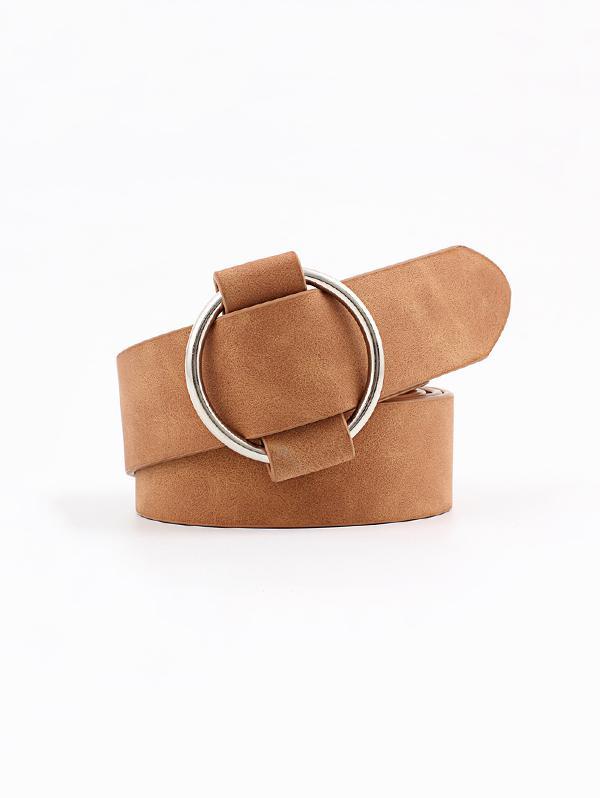 Circle No Pin Buckle Belt