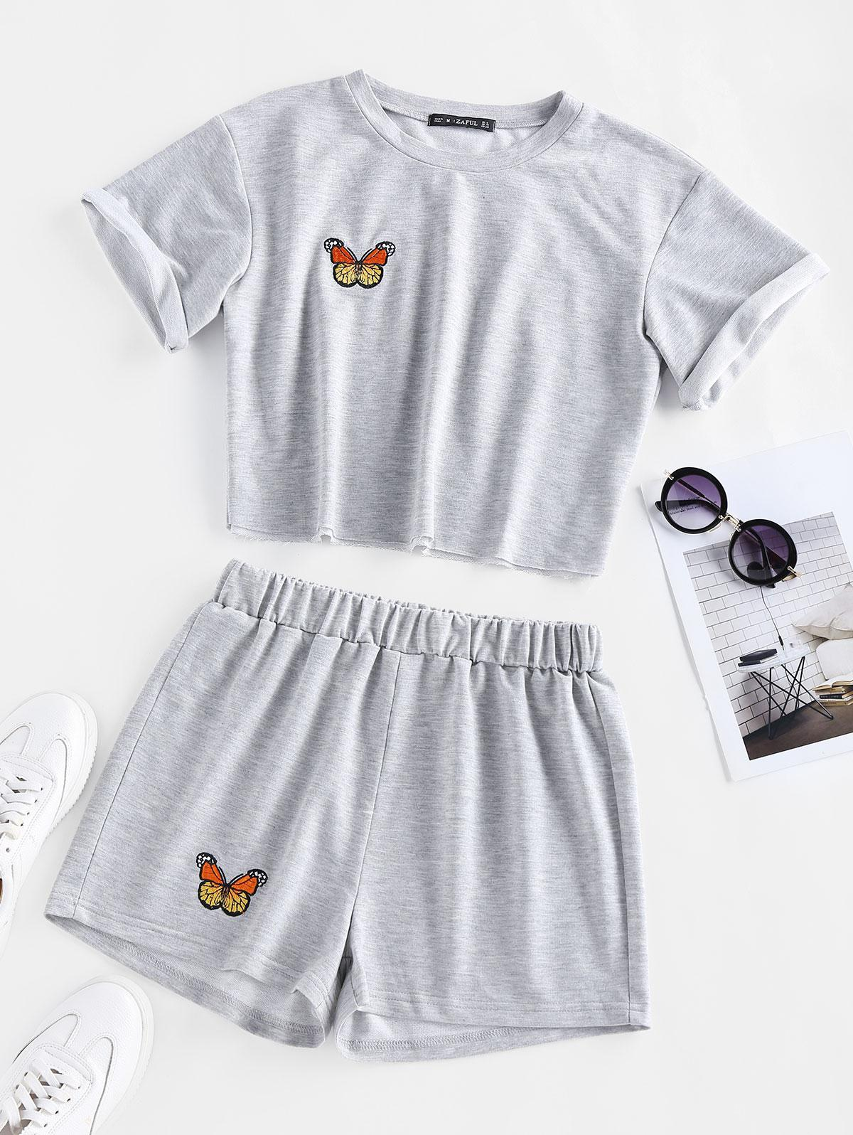 ZAFUL Butterfly Embroidered High Waisted Shorts Set