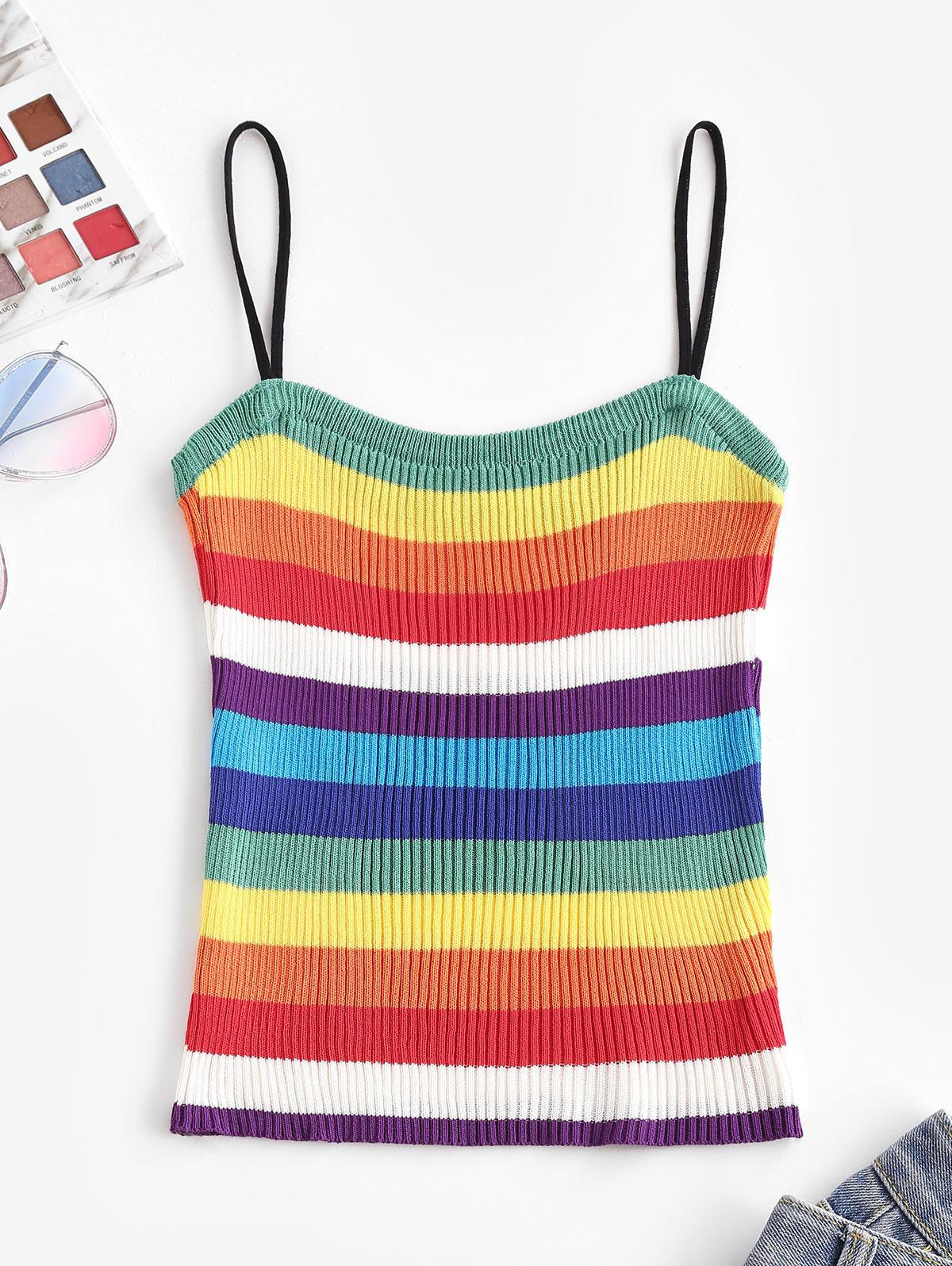 Knitted Rainbow Stripes Cami Top