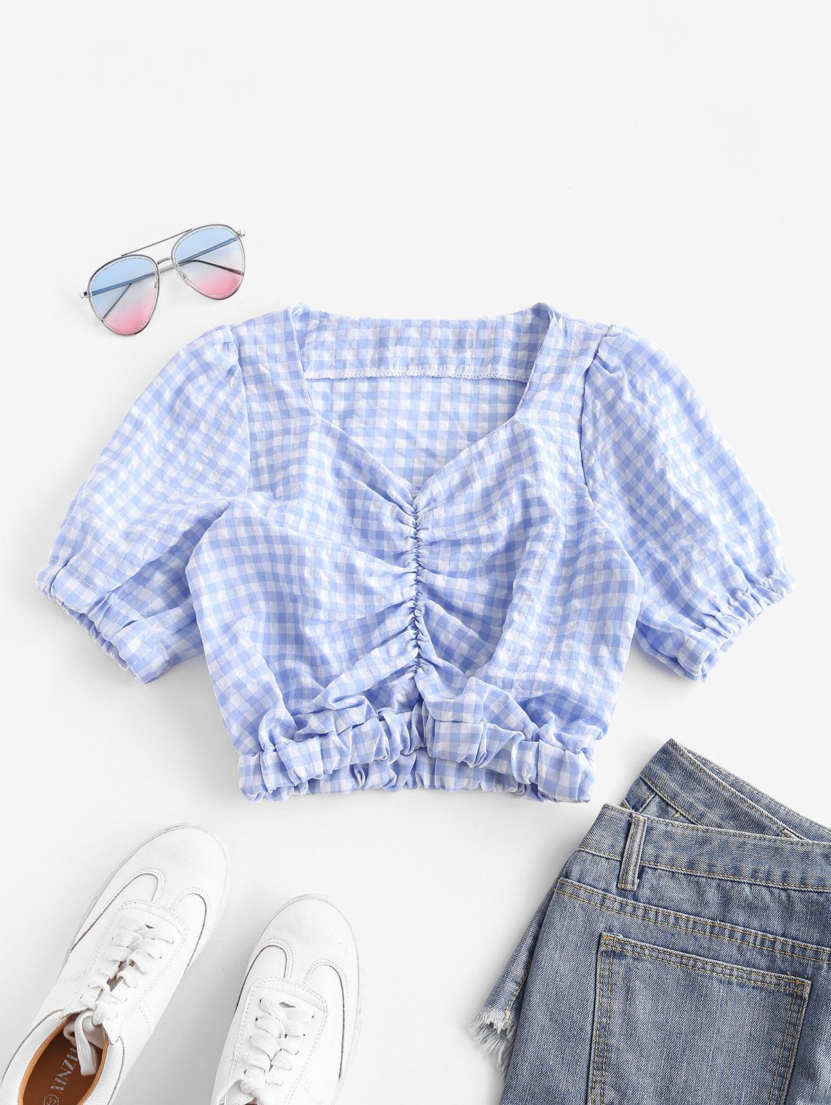Gathered Front Puff Sleeve Plaid Blouse