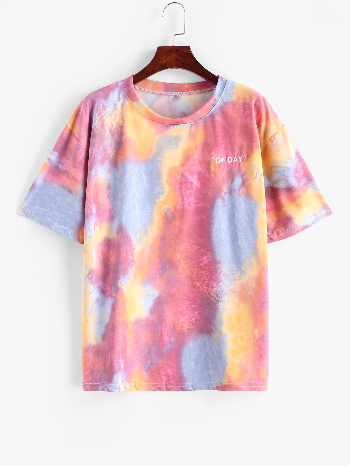 Tie Dye Letter Embroidered Drop Shoulder T-shirt