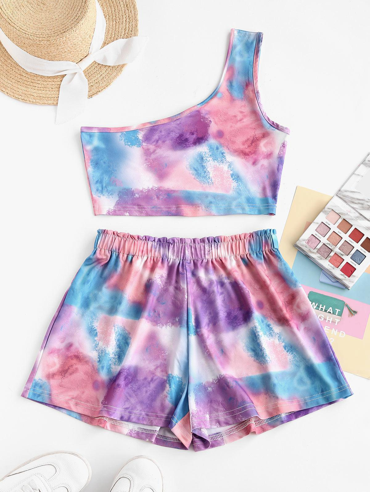 Cloud Tie Dye Frilled One Shoulder Two Piece Set