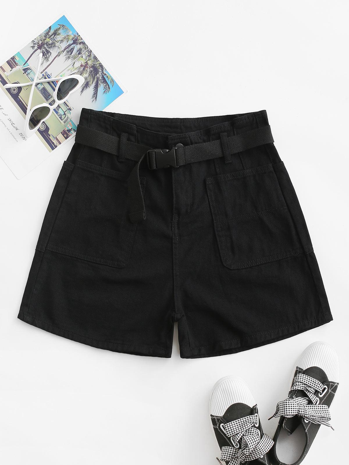 Buckle Belted Solid Denim Paperbag Shorts