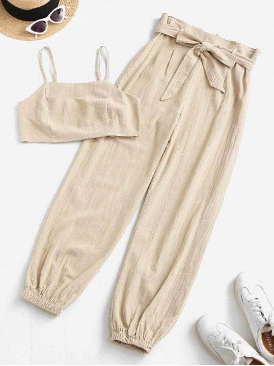 fancy ZAFUL Smocked Back Cropped Belted Jogger Paperbag Pants Set - BLANCHED ALMOND S