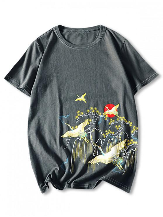 women Flying Crane Chinese Paint Print Stitching T-shirt - GRAY XL