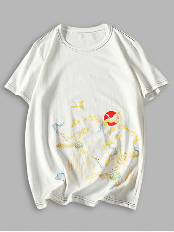 womens Flying Crane Chinese Paint Print Stitching T-shirt - WHITE XS