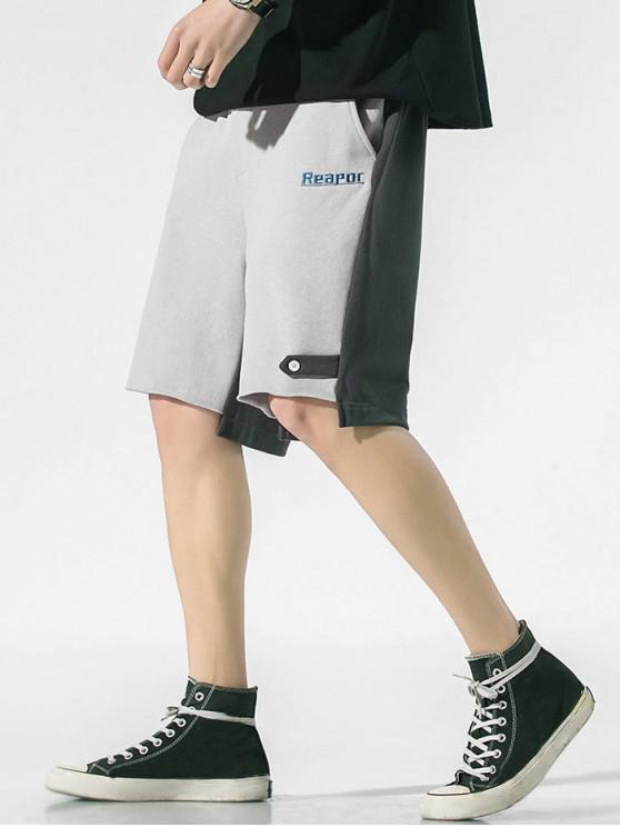 Two Tone Letter Embroidery Drawstring Casual Shorts - رمادي فاتح XS