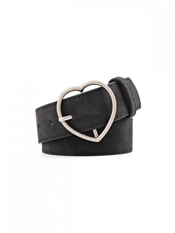 outfits Heart Pattern Buckle PU Belt - BLACK