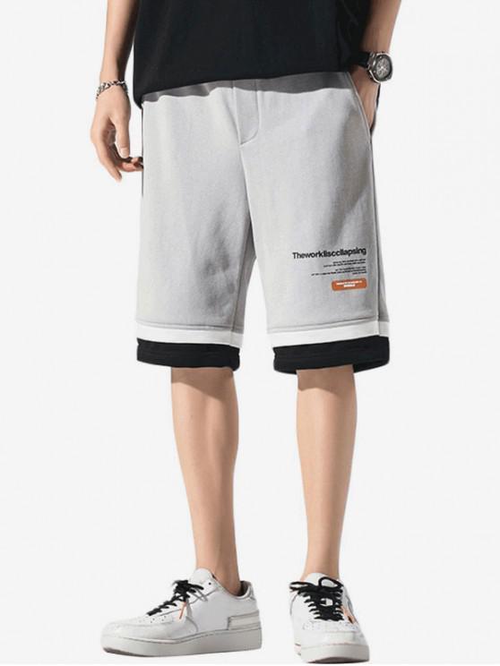 outfits Letter Print Layered Hem Sweat Shorts - LIGHT GRAY XL