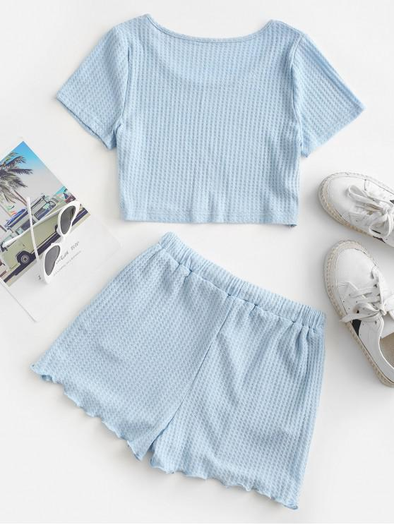Textured Cropped Lettuce Trim Two Piece Set - Light Blue Xl | ZAFUL