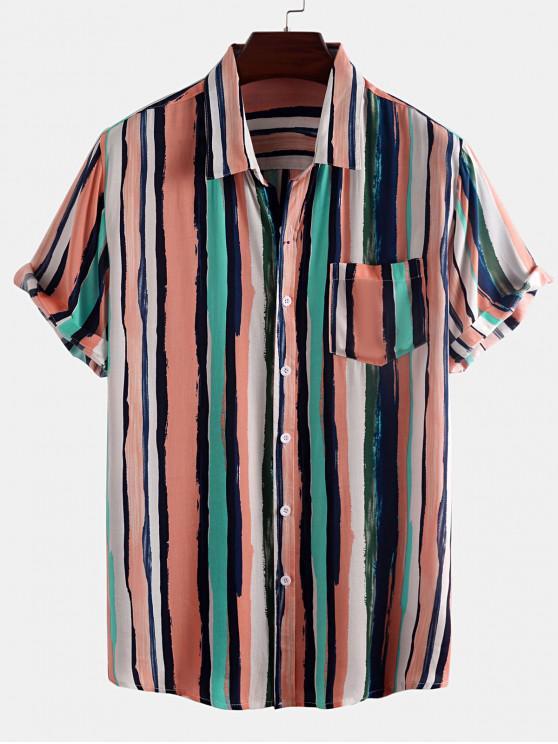 Camisa a Rayas Pintura Bolsillo Parche - Rosa Claro M