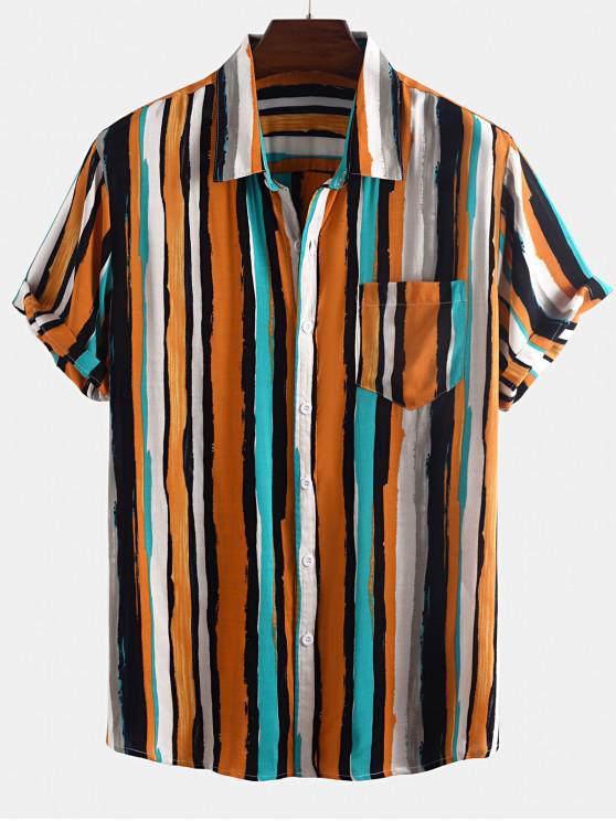 shops Paint Stripes Print Pocket Patch Shirt - ORANGE 2XL
