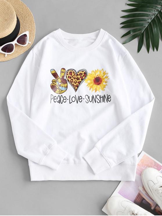 online French Terry Sunflower Heart Gesture Graphic Sweatshirt - WHITE XL