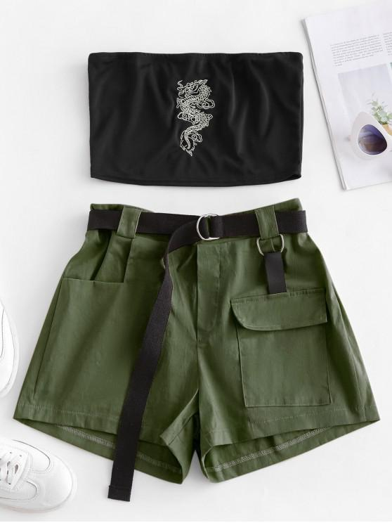 shop Two Piece Dragon Embroidered Oriental Cargo Shorts Set - DEEP GREEN L