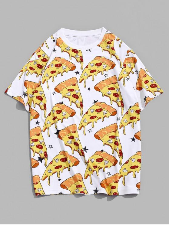 ピザ総模様クルーネックTシャツ - サンイエロー M