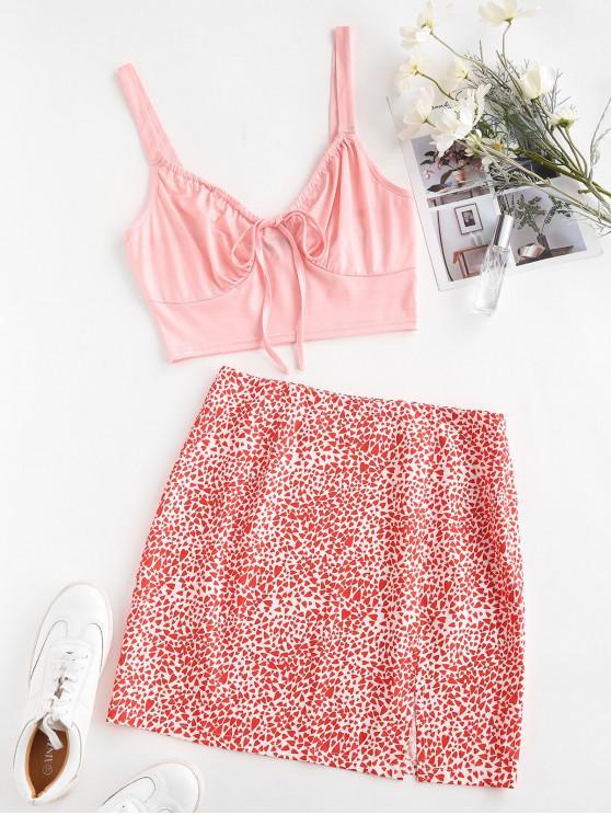 women's Heart Print Tie Two Piece Dress - LIGHT PINK L