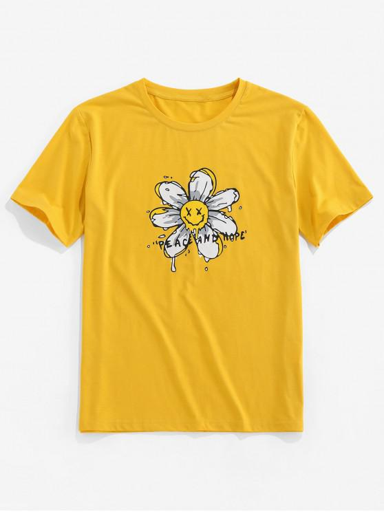 unique ZAFUL Peace And Hope Flower Print Basic T Shirt - YELLOW 2XL