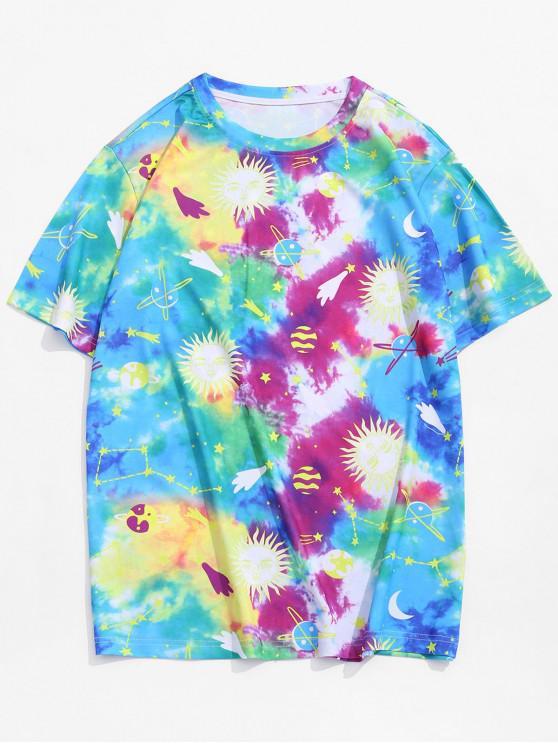 new Cartoon Sun Planet Tie Dye Print T-shirt - DODGER BLUE M