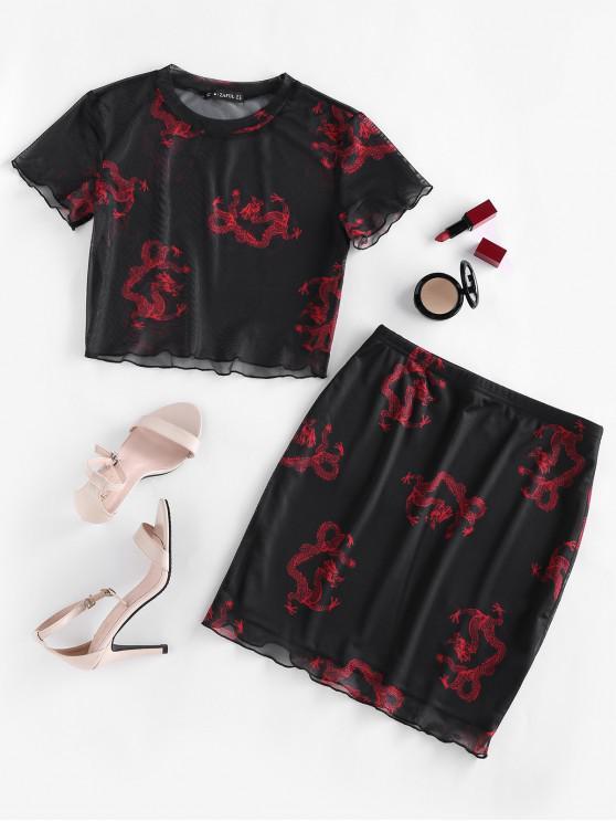 trendy ZAFUL Dragon Print Oriental Mesh Bodycon Skirt Set - BLACK S