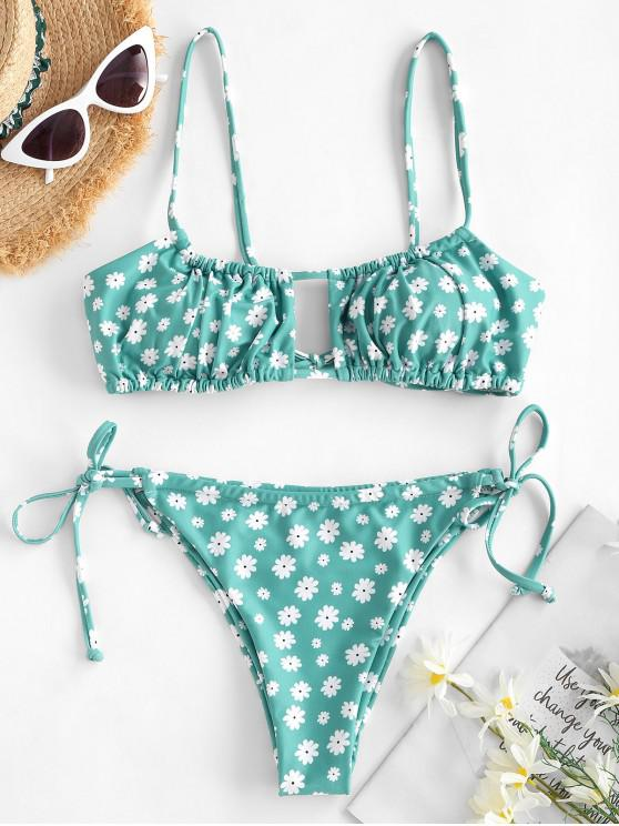 sale ZAFUL Ditsy Print Keyhole String Bikini Swimwear - LIGHT GREEN M